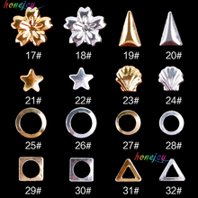 50pcs/lot Nail Art Metal Alloy Jewelry Decoration Rhinestones Metal Rivets Shell Nail Decals Wholesale Supplies