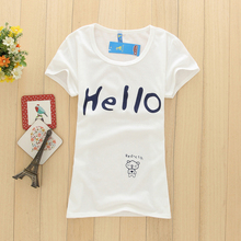 2017 Women Summer Cartoon Letter Print Short Sleeve Slim T-shirt Girl's Cheap T Shirt Free Size O-neck Sexy Casual Tops