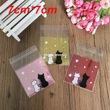 100pcs Lovely Cat Party Cookies Biscuits Bags Self-adhesive Wedding Cellophane Bag Cake Candy Gift Bags Party Supplies