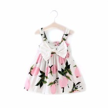 New Design 2017 Summer Casual Girl Flower Pattern Dress kids Ruffles Dress Children Clothing dress Girls One Piece