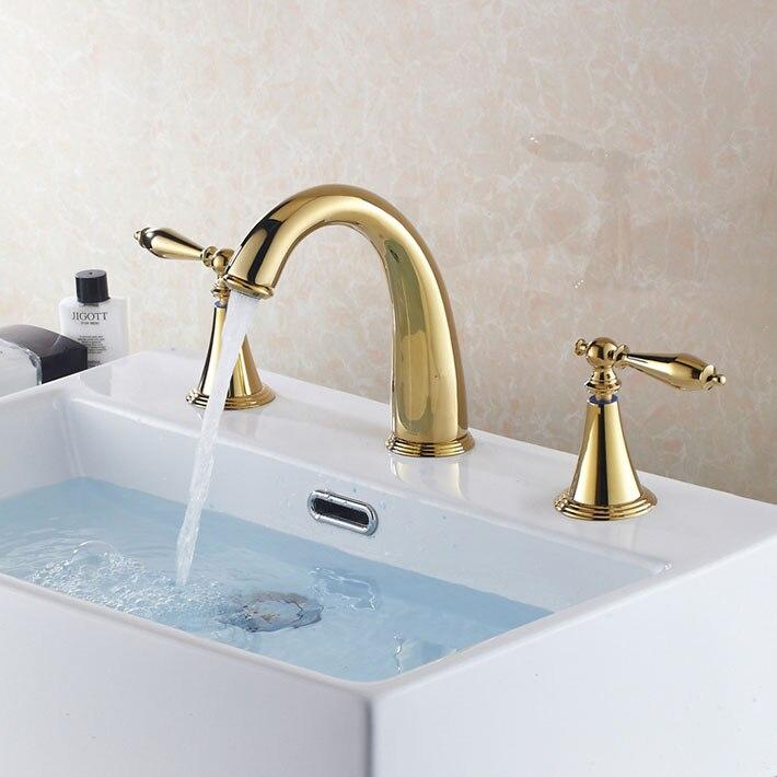 Mini-widespread 3 Pcs Golden Color Tap 2 Handle Waterfall Bathroom Basin Sink Bathtub Mixer Faucet tap<br><br>Aliexpress