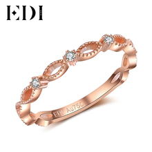 EDI Romantic Love 18K Rose Gold Anniversary Bands Real Natural Diamond Ring For Women Female Genuine Fine Jewelry Gifts(China)