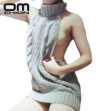 2017 Summer New Turtleneck Sleeveless Long Virgin Killer Sweater Japanes Knitted Sexy backless Women Sweaters And Pullovers WM03