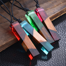 Olsen Twins Geometric Cube Marine Solidified Resin Wood Pendant Black Leather Rope Necklace Jewelry(China)