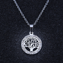 New Silver/Gold Round Dream Tree Pendant Necklace Stainless Steel With AAA Cubic Zirconia Lady Girl Necklace Jewelry(China)