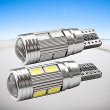 2pcs T10 10 SMD 5630 LED with Projector Lens Car Parking Lights W5W 194 AUTO Clearance light reading dome Lamp Canbus Error Free
