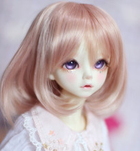 Doll wigs Angel Brown color high temperature wire available for 1/4 /1/3 dolls DDY BJD doll accessories Pear flower curly hair(China)