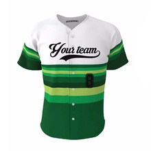 Dry-fit Sublimation Baseball Jersey Team Wear Green plus Stripes Cool Custom Design Boys and Girls Softball Shirt Jerseys