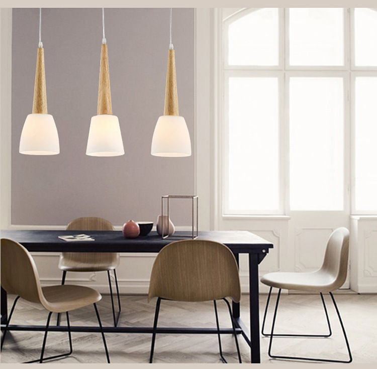 Single Head Loft Pendant Lights Wood E27 Modern Hanging Lighting Glass Lampshade Luminarias Indoor Lighting Droplight  WPL073<br>