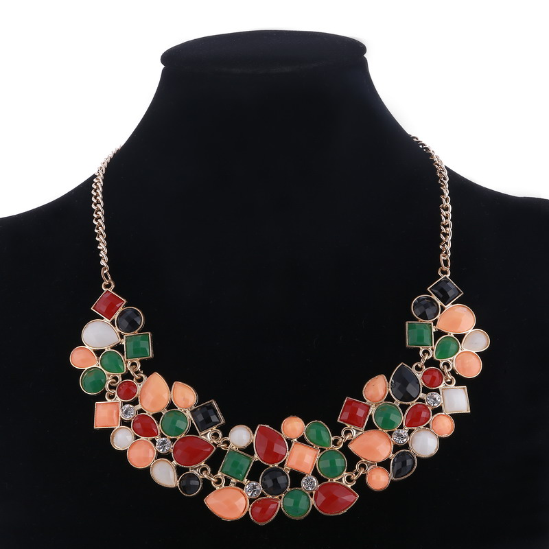 MINHIN New Popular Colors Multicolor Big Pendant Clavicle Chain Necklace Women's Delicate Banquet Jewelry 4