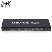 Aikexin 6x1 hdmi switch, Best Price 6 way 6 in 1 out 4k x 2k 3D video 1080P HDMI Switcher with support audio extract function