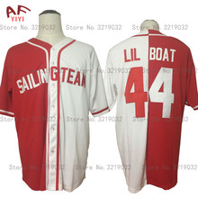 AIFEIYIYI Cheap Throwback Baseball Jersey Lil Yachty Lil Boat 44 Sailing Team Jersey Red White Button Down Sewn on Mens Shirts(China)