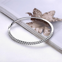 2017 New Authentic 925 Sterling Silver Timeless Elegance Bangle Clear CZ Hinged Clasp Bangles & Bracelets Pan Women Jewelry