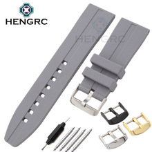 Soft Comfortable Rubber Watchbands 24mm Men Diving Sport Gray Silicone Watch Band Strap Steel Metal Buckle Belt Accessories