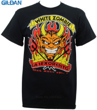 Shirt Maker Gildan Crew Neck Short Sleeve White Zombie Band Devil'S Music Rock Metal Office Tee For Men(China)
