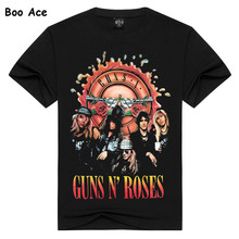 2017 Men's Black Guns N' Roses T shirts Printed Heavy Metal Fitness Casual Rock Summer Short Sleeve Tee YF00600(China)