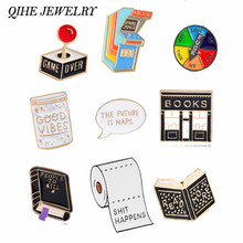 QIHE JEWELRY Book Pin Game over brooches Good vibes badges Read more lapel pins Funny quote jewelry Book pins collection (China)