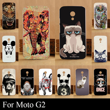 For Moto G2 G 2 Case Hard Plastic Mobile Phone Cover DIY Color Paint Painting Cellphone Bag Shell cases