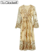 [To Gladself] Women 2017 Summer Fashion Designer Clothing Clothes Casual Long Sleeve V Neck Sequin Blingbling A Line Midi Dress(China)