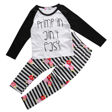 Children's Outfits Sets Kids Baby Girls Spring/Autumn Letter T-shirt Tops+ Flower Stripes Pants 2016 2PCS Outfits Clothes Set