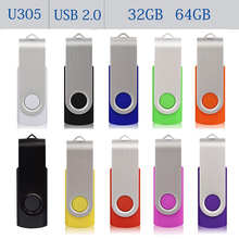 Candy Color USB 2.0 Flash Drive Pendrive 64GB 32GB Pen Drive USB Flash Memory Stick Jump Drives Pen Driver Storage Device U305(China)