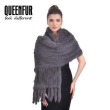 2017 New Real Rabbit Fur Scarf For Women Natural Knitted Rabbit Fur Poncho With Tassel Genuine Luxury Fur Shawl 170cm Length
