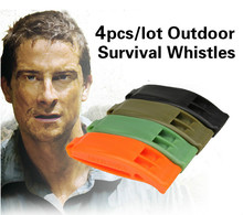 4pcs/lot Portable Outdoor Survival Rescue Emergency Plastic Whistle With Clip for champing hiking climbing travel kits GYH(China)