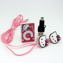 Hot Sale 1 pcs/lot The Newest Mini Fashion Hello Kitty Shaped Card Reader MP3 Music Player With Hello Kitty Earphone&Mini USB