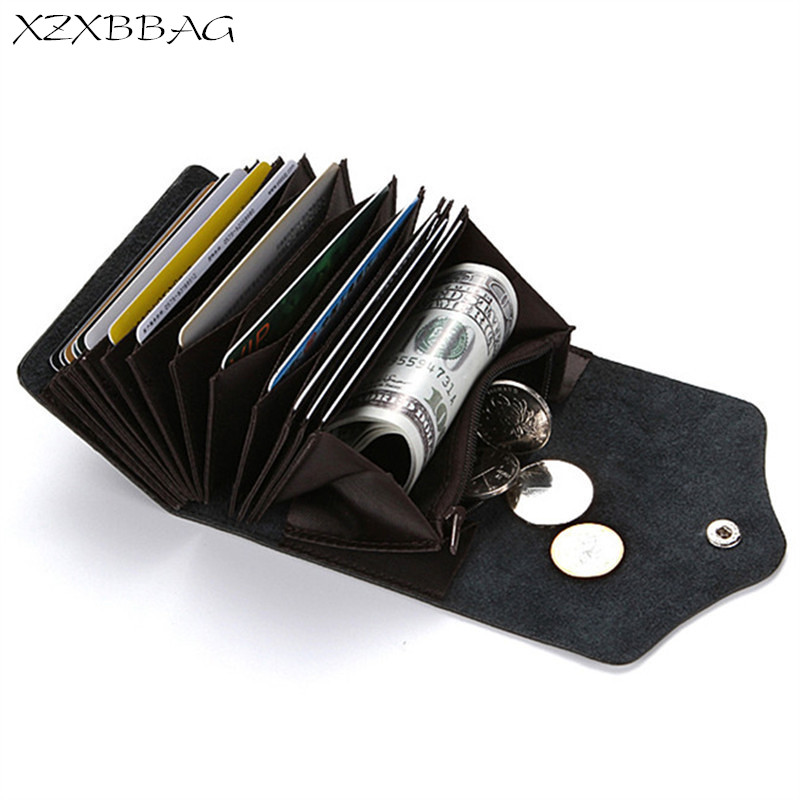 XZXBBAG Female Genuine Leather Card Holder Unisex Fashion Double Hasp Card Wallet Bag Men Business Card Package Coin Purse RFID