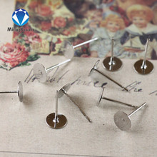 MINGXUAN 100pcs/lot 5/6mm Stainless Steel Earring Stud Ear Nail metal Flat Base Cup Posts Earring Findings for DIY Jewelry