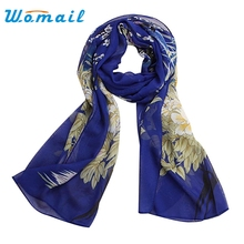 Womail Fashion Soft Thin Chiffon Silk Scarf Women Floral printed Scarves Long Foulard Sjaal Cachecol Feminino #20 2016 Gift