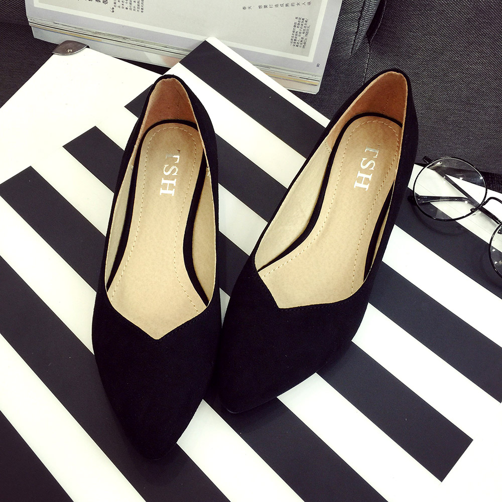 Suede Low-heeled Pointed Shoes For Womens Single Shoes Big Size 41 Comfortable Leisure Sexy Women Boat Shoes Sapato Feminino<br><br>Aliexpress