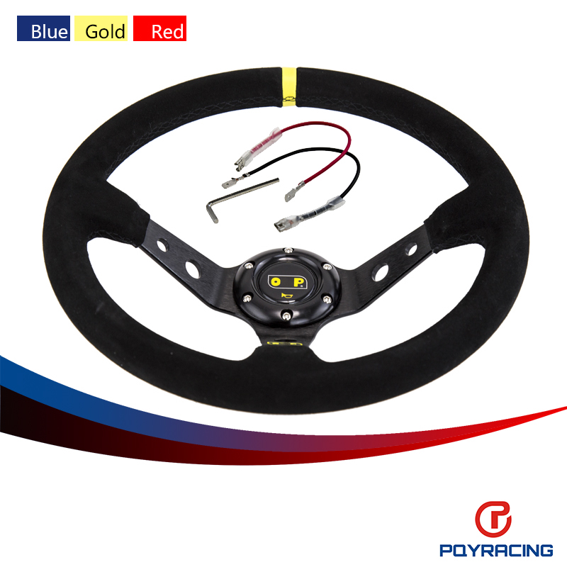 PQY-  Steering wheel ID=14inch 350mm OMP Deep Corn Drifting Steering Wheel/Suede Leather Steering wheels 3/Colors PQY- SW21<br><br>Aliexpress