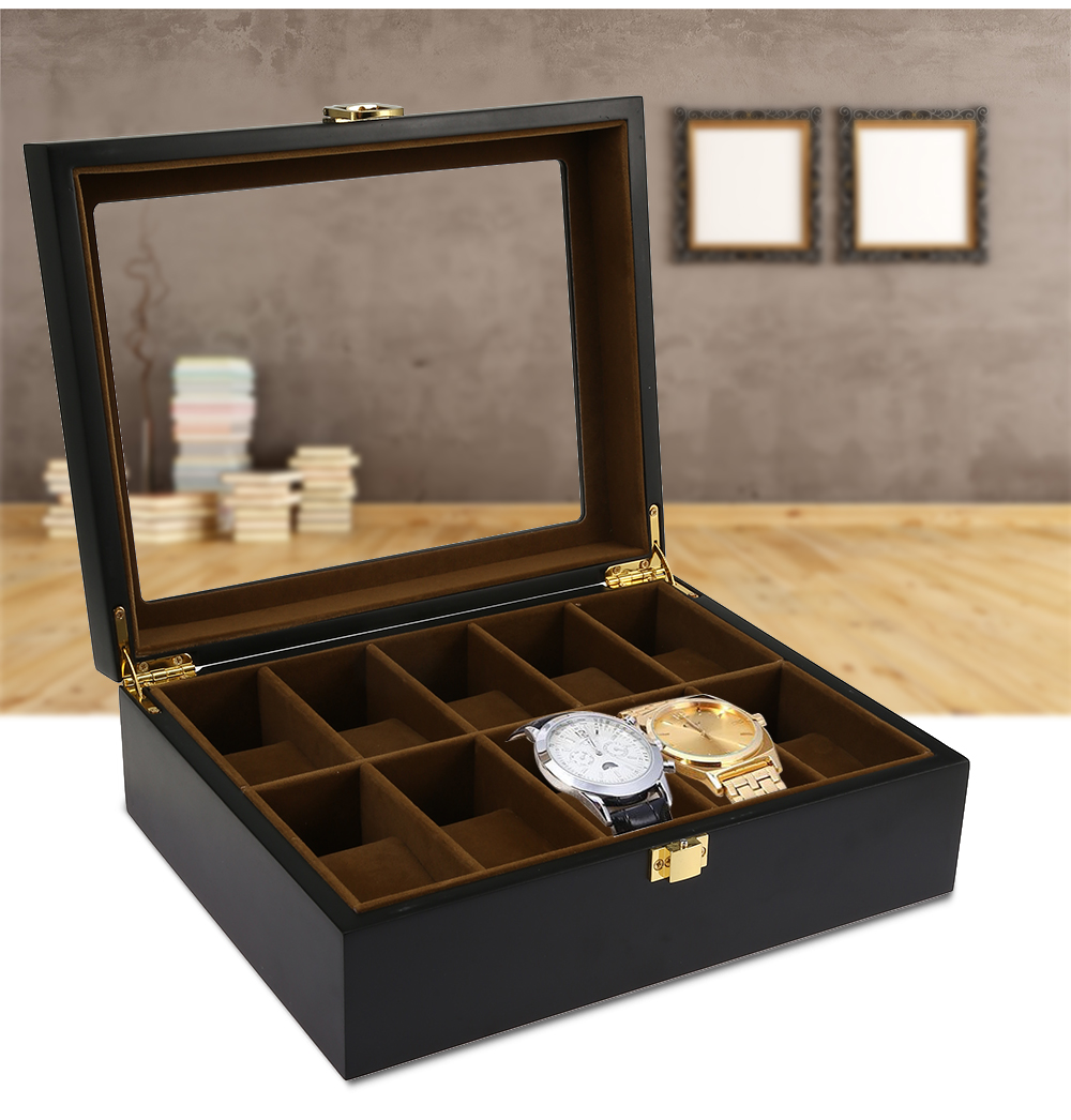 10 Grids Wooden Watch Box Jewelry Display Storage Organizer