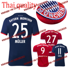 2017 HOT SALES 2018 BEST QUALITY ADULT BAYERNES MUNICHES SOCCER JERSEY 17 18 HOME RED AWAY GRAY MEN SHIRT FREE SHIPPING