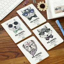 1Pc Kawaii Mr.Animal Kraft Paper Notebook Journal Diary Notepad Soft Copybook Cute Stationery 14.2*10.5cm