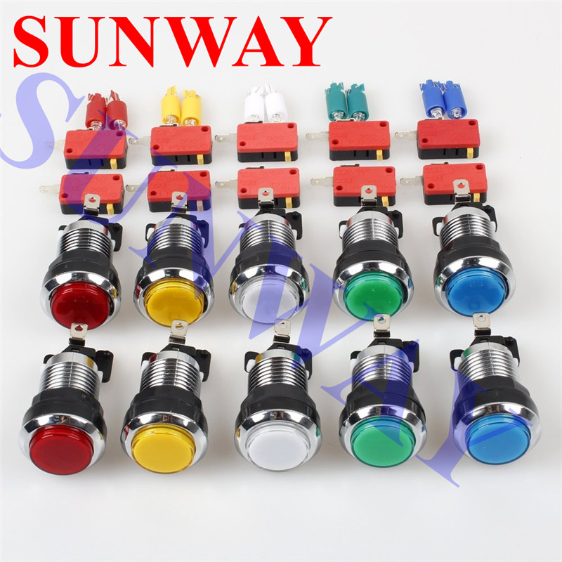 10pcs-lot-CHROME-Silver-Plated-illuminated-arcade-push-button-12V-LED-Arcade-Start-Push-Button-with