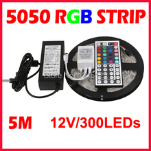 LED Strip 5M 60LEDS/m 5050 SMD 44Key IR Remote Controller 12V Power Adapter Flexible Light Tape Waterproof Home(China)