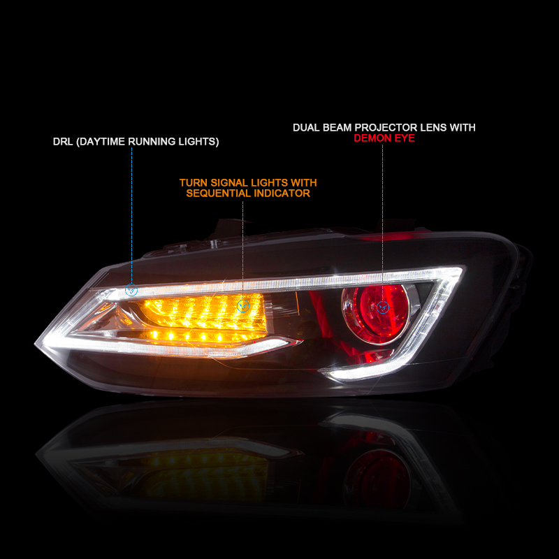 CNSUNNYLIGHT For Volkswagen Polo 2011-2017 Car Headlight Assembly with LED DRL Turn Signal Xenon HID Projector Lens Plug and Play (5)