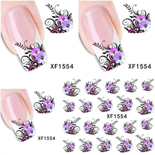 1 Sheet XF1554 Watermark Water Transfer Design Purple Flowers European Style Tip Nail Art Sticker Nails Decal Manicure Tools