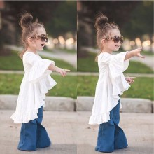 6pcs New Spring Toddler Baby Girls Dress Cotton Horn Sleeve Casual Kids Girls Everyday Dress Personality Childrens Clothes