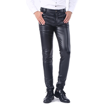 Idopy Men`s Business Slim Fit Five Pockets Stretchy Comfy Black Solid Faux Leather Pants Jeans Trousers For Men(China)