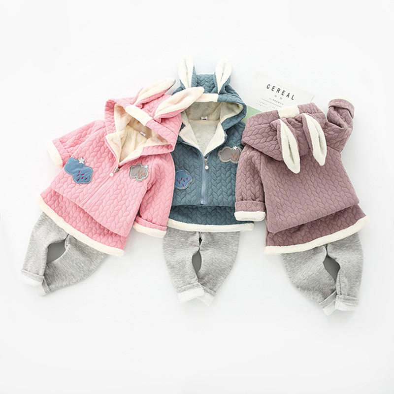 baby girl winter rabbit ear fashion warm suit coat + baby pants 2 set suit childrens casual sports jacket new <br>