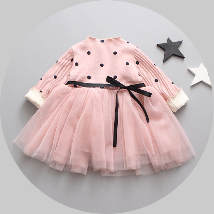 2017 new winter children s clothing thickening velvet dress baby winter lace dress  girls dresses  pink green <br><br>Aliexpress