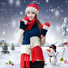 Hat Scarf Glove Set Women Winter Warm Pompoms Wool Knitted Beanies Patchwork Tassels Crochet Baggy Long Scarves X-mas Gift(China)