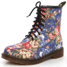 Autumn New Product Westward Cowboy Wind Handsome Cowboy Boots Retro Small Flowers Flat With High BootsFor Women's Martin