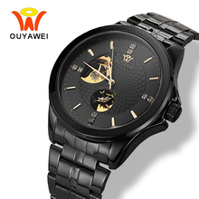 Ouyawei 2017 Fashion Mens Black Automatic Watch Men Mechanical Black Full Metal Self widing Watches relogio automatico masculino(China)