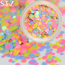STZ 1PCS New Arrival Round Colorful Sheets Tips Nail Glitters Sequins Nail Art Decorations Accessory Mixed 1mm/2mm/3mm P39