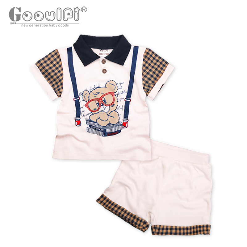 Gooulf New Casual Baby Boys Clothing Set Summer Cotton Turn-down Collar Red Short Sleeve T Shirt Summer Baby Boy Clothes<br>