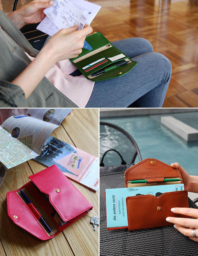 Reispaspoort Cover Opvouwbare Creditcardhouder Geld Portemonnee ID Multifunctionele Documenten Vlucht Bit Licentie Portemonnee Tas PC0045 (17)